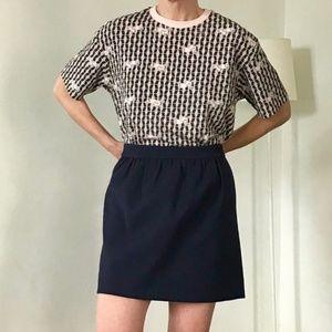 J. Crew Double Crepe Skirt- Navy Blue